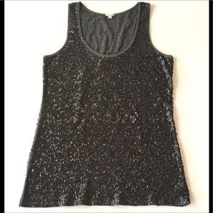 J. CREW GRAY TANK TOP WITH BLACK SEQUINS SIZE XS